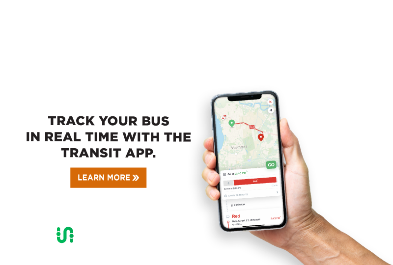 Track your bus in real time with the transit app.