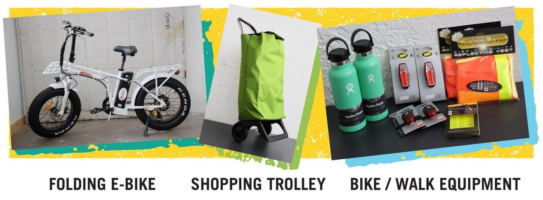 Folding E-bike, Shopping Trolley, Bike/walk equipment