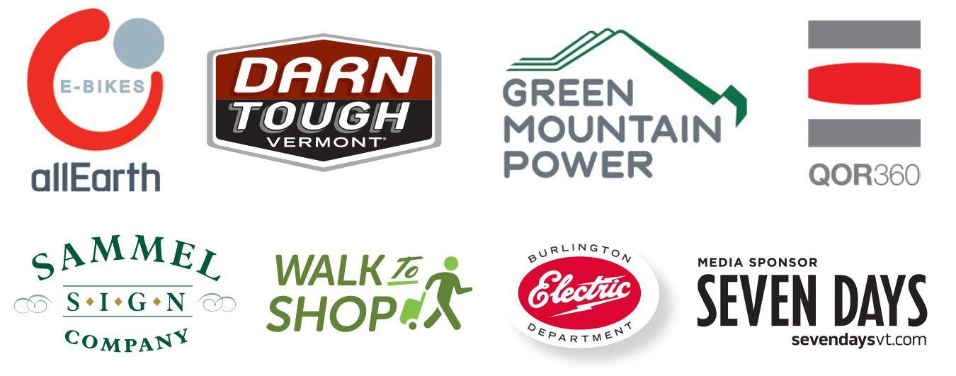 AllEarth, Darn Tough, Creen Mtn Power, QOR360, Sammel Sign, Walk to Shop, Burlington Electric Dept, Seven Days