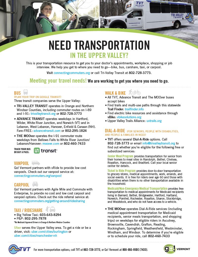 Upper Valley Transport Guide